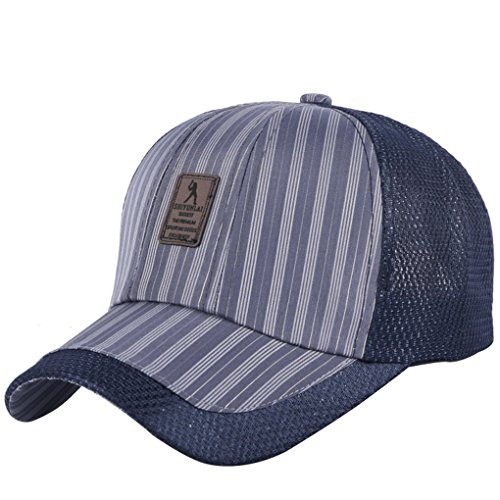 Llxln Nuevo Diseño Unisex Gorra Hat Malla Casual Cool Patrón De Rayas Deportes Tapas para Mujeres Hombres 58 Cm Azul Ajustable