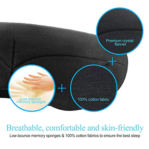Bluetooth Sleeping Eye Mask with Wireless Headphones,ERNSTING Wireless Bluetooth Music Headset with Adjustable Built-in Speaker and Microphone Calls Washable Perfect for Travel and Sleep (Black) by ERNSTING (Image #1)