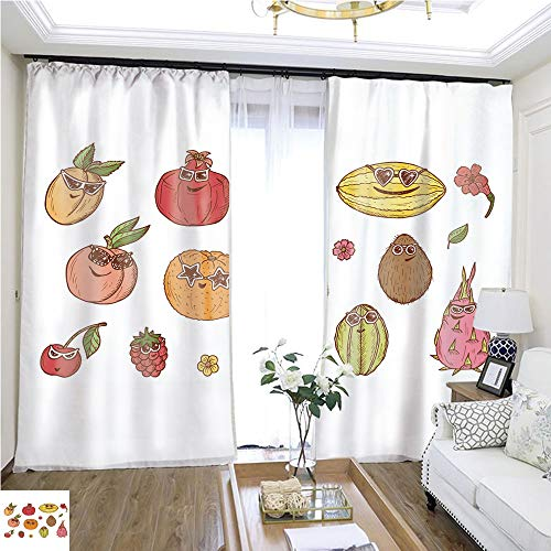Tulle Curtain Fruit Icons Set Funny Stylish Fashion Berries and Fruits with Sunglasses Hand Drawn Doodle Apricot Peach Cherry Raspberry Pomegranate Orange Melon Coconut Dragon Fruit carambola1 W72 x