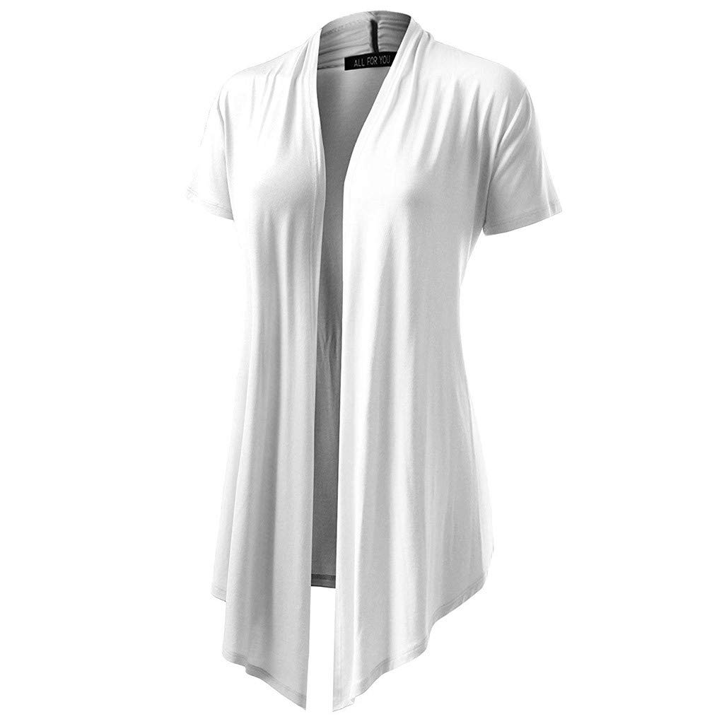 JIANGfu Women Solid Color Cover Up Smock Ladies Summer Casual Soft Drape Cardigan Short Sleeve Smock Sun Wear Blouse Tops Clothes
