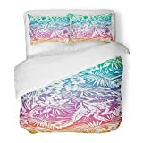 Emvency Bedding Duvet Cover Set Twin (1 Duvet Cover + 1 Pillowcase) Watercolor Ombre Tropical in Green Hawaii Palm Floral Hibiscus Beach Hawaiian Flower Hotel Quality Wrinkle and Stain Resistant