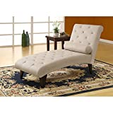 Monarch Specialties Velvet Fabric Chaise Lounger, Taupe