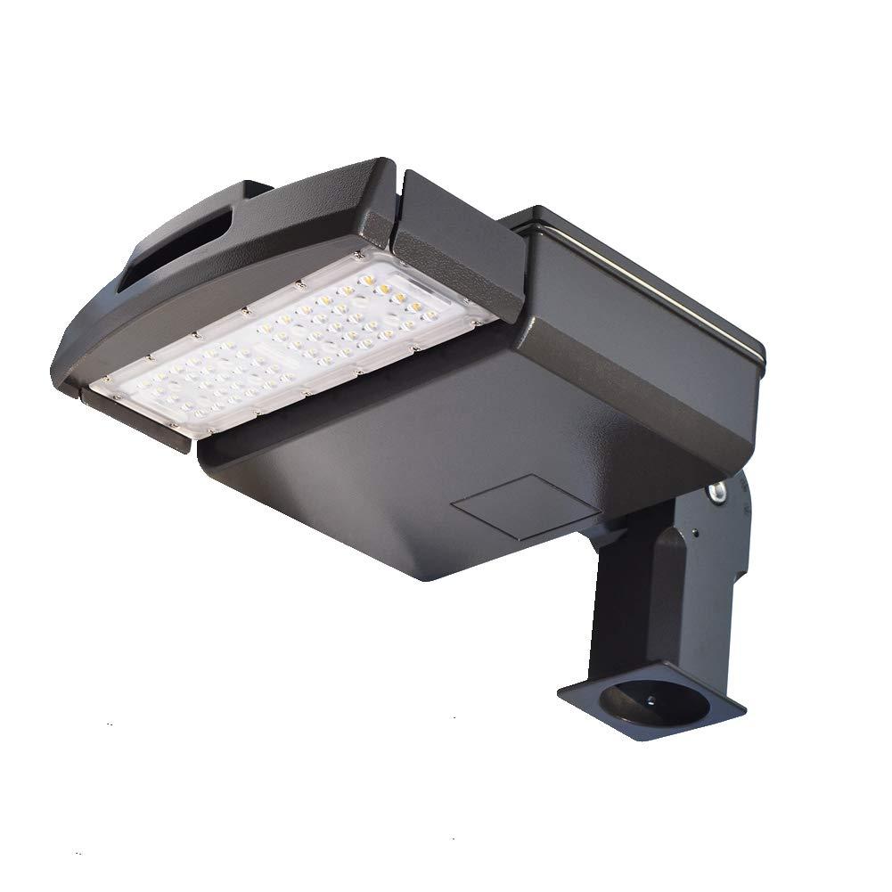 50 Watt LED Parking Lot Light - 5500 Lumen - Super Efficiency Street Area Security Flood Lighting - 5000K Bright White - Replaces 200W Halide - LED Shoebox Pole Light - Slip Fit Mount