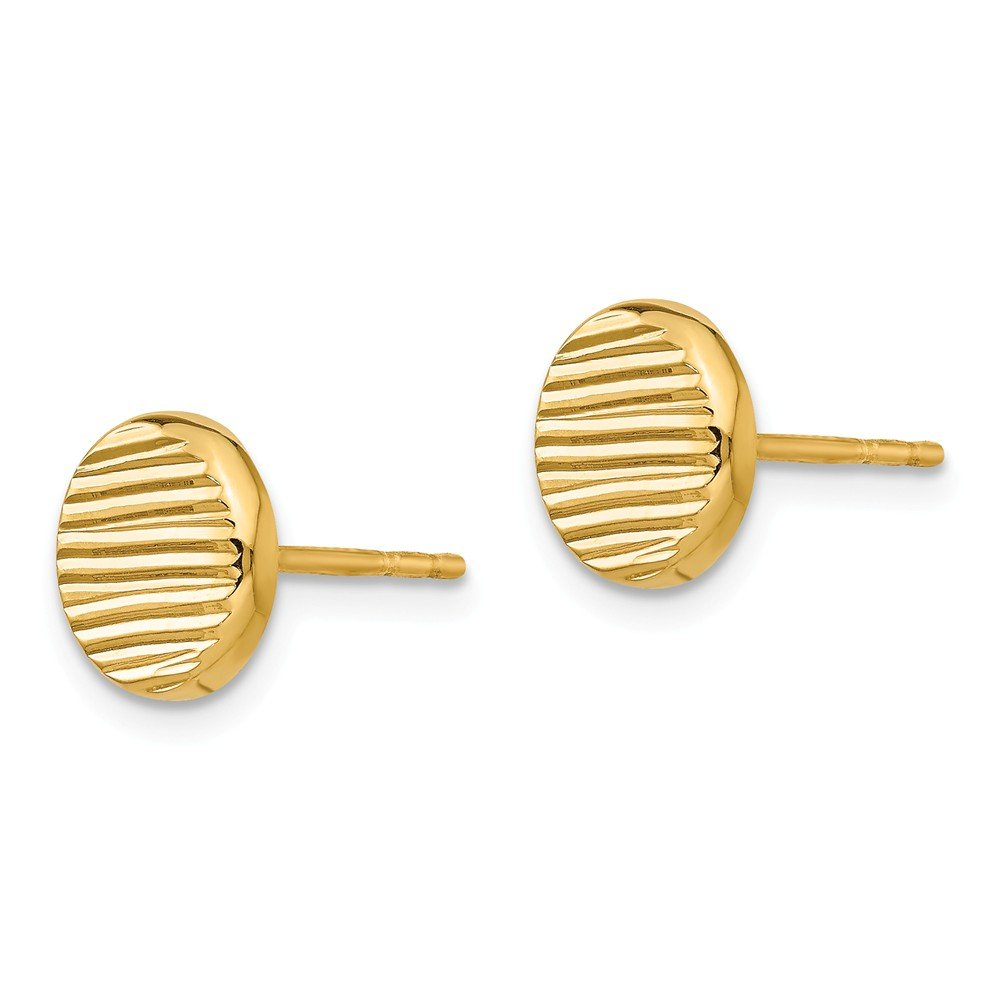 Leslies 14K Polished /& Textured Disc Post Earrings