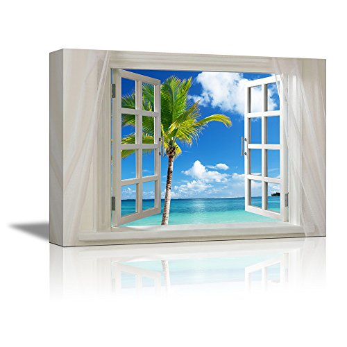 Glimpse into Beautiful Tropical Beach with Palm Tree out of Open Window Wall Decor ation