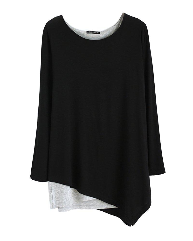 Donna Allentato Orlo Irregolare Girocollo Maniche Lunghe Camicetta Camicia Tops Yoga Abbigliamento Nero Gladiolus