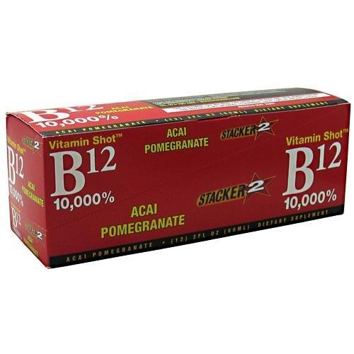 NVE Pharmaceuticals Stacker 2 Vitamin Shot B12 10000% Acai Pomergranate 12 x 2 Oz by NVE Pharmaceuticals