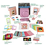 Fujifilm Instax Mini 9 or Mini 8/ 8+ Accessories, 14 PC Set Includes PINK Camera Case with Adjustable Strap, Albums, Filters, Selfie lens, Magnets + Hanging + Creative Frames, stickers with Gift Box