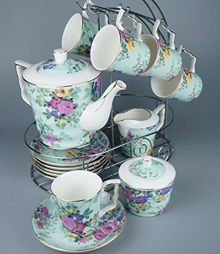 "Porcelain Tea Set 16 Pieces - Large Teapot with Lid + Creamer Pitcher + Covered Sugar Bowl + 6 Cups + 6 Saucers + Hanger - The ""Radiant Green"" model - Premium Quality"