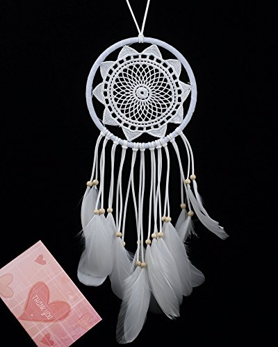 BSLINO Dream Catchers White Handmade Beaded Feather Native American Dreamcatcher Circular Net For Car Kids Bed Room Wall Hanging Decoration Decor Orna…