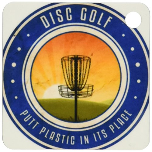 3dRose Putt Plastic In Its Place  No. 11 - silhouette of frisbee disc golf basket as the sun rises - Key Chains, 2.25 x 4.5 inches, set of 2 (kc_39411_1)