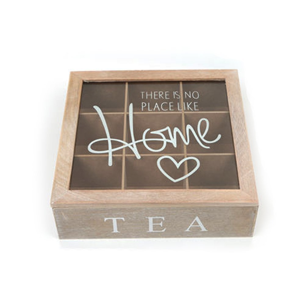 Ardisle Wooden Tea Box Vintage Shabby Chic Compartment Chest Storage Caddy Kitchen Lid