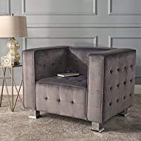 Christopher Knight Home 301718 Boden Tufted Modern Deco New Velvet Arm Chair, Grey/Silver