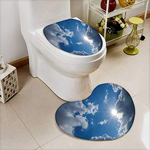 L-QN Soft Toilet Mat 2 Pieces Set Clear Weather Sky Sun On Sky Clouds Solar Clean Energy Power Machine-Washable by L-QN