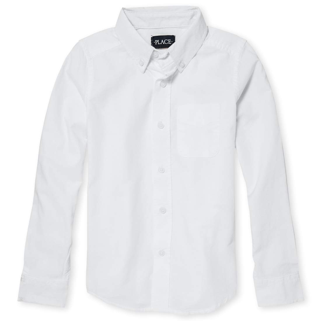 The Children's Place Big Boys' Long Sleeve Uniform Oxford Shirt, White 5063, Medium/7/8 by The Children's Place
