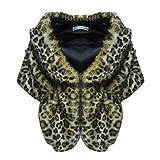 Sunsent Luxury Womens Classic Faux Fox Fur Soft Short Sleeve Shawls Cape