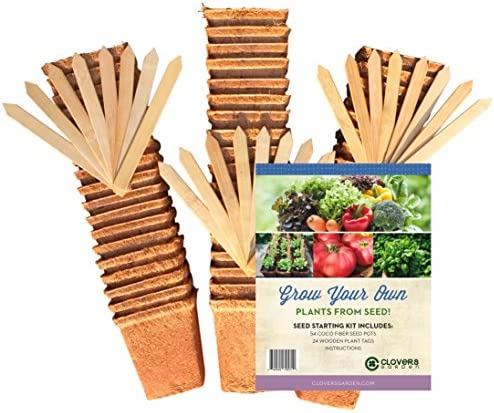 54 Coco Fiber Seed Starter Biodegradable Pots for Starting Tender Rooted Vegetables, Herbs, Plant Seedlings, Cuttings, Germination Transplanting – Includes 24 Wooden 6 Label Tags 3.5 inch Square