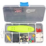Remeehi Finger Skateboard with Storage Box Mini Finger Skateboard Set Educational Toys Sets Great Gift for Kids Mini Fingertip Skateboards-Green