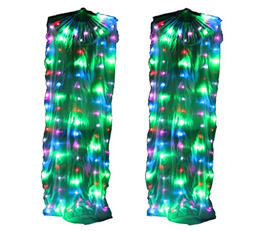 Performance Prop Light up LED SilkFans Shiny Pleated Festival Carnival Dance Costume Accessories Belly Dance Fan (Colorful) -