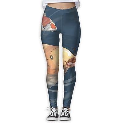NSYGCK Fish Koi Yoga Pants for Women Colorful Slim-Fit Yoga Leggings