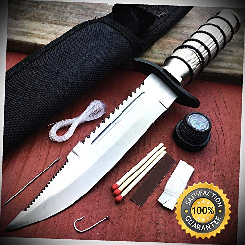 10'' Fishing Hunting Survival KIT Knife w Sheath Bowie Camping with Compass - Outdoor For Camping Hunting ()