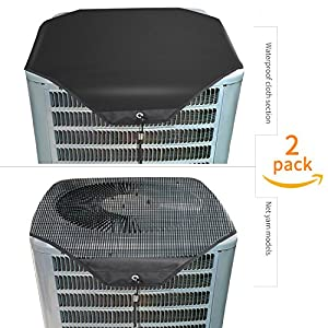 "Lanlin Ac Unit Cover - Conditioner Winter Waterproof Top Air Conditioner Leaf Guard Air Conditioner Cover with Open Mesh For Outside Units (2 Pack) (Set A, 28""×28"")"