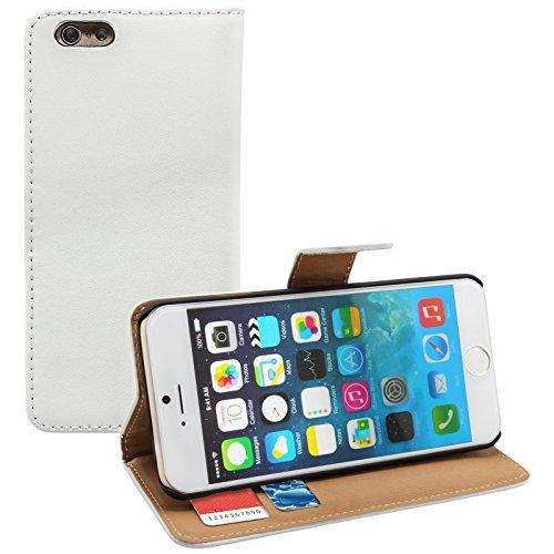 Kunstlederhülle für Apple iPhone 6 Plus ( 5.5 Zoll ) Hülle Case Cover Wallet Handytasche Zubehör Kunstledertasche weiß