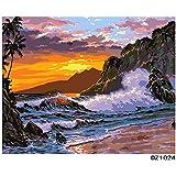 """Kits Pintados A Mano para Adultos Pintar Pintura Bricolaje Por Números Pintura Al Óleo-Vista al Mar 16""""x20"""" (Sin Marco)"""