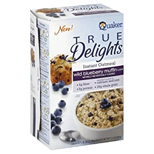 Quaker True Delights Wild Blueberry Muffin Instant Oatmeal, 11.2 Ounce Box