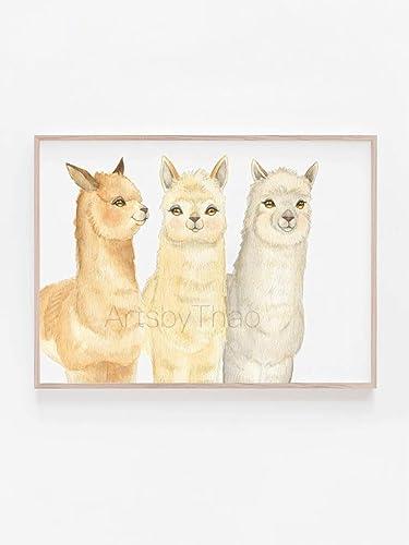 image regarding Watercolor Printable identified as : Alpaca prints 3 Alpaca Portray llama watercolor