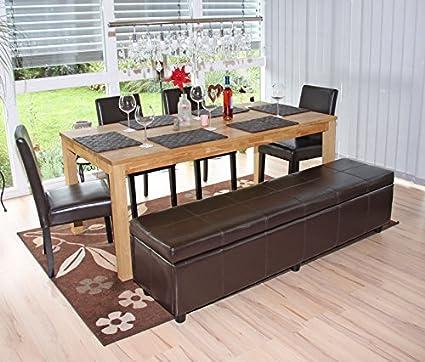 Mendler Garnitur Sitzgruppe Bank mit Aufbewahrung Kriens XXL+4 Stühle Littau, Leder ~ braun