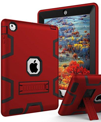 TIANLI iPad 2 Case,iPad 3 Case,iPad 4 Case Three Layer Protection Shockproof Protective with Kickstand iPad 2nd Generation Case/iPad 3rd Generation Case/iPad 4th Generation Case - Red Black