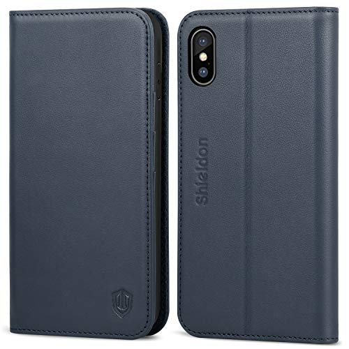 Leather Genuine Folio - SHIELDON iPhone Xs Max Case, iPhone Xs Max Wallet Case, Genuine Leather Folio Magnetic Cover [Auto Sleep/Wake] [RFID Blocking] Card Slots Compatible with iPhone Xs Max (6.5