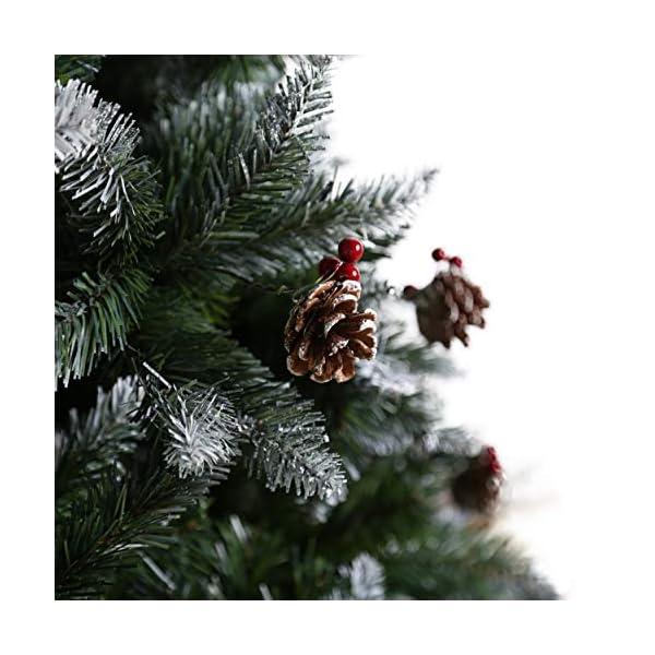 YOUKE Albero di Natale Artificiale di Pino Dolce Glassato Decorato con Pigne e Bacche Rosse,Facile da Installare, Materiale in PVC (1400Tips, 2.25M) 6 spesavip