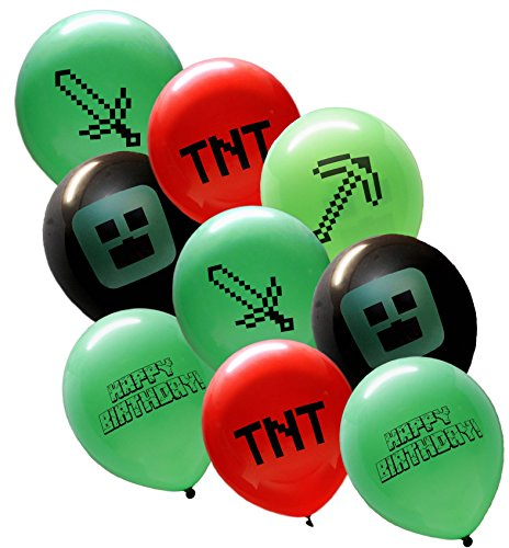 25 Pixel Style Miner Party Balloon Pack - Large 12'' Latex Balloons by Jade's Party Packs