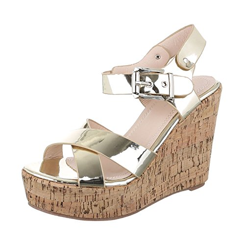 Ital-Design Keilsandaletten Damen Schuhe Plateau Keilabsatz/Wedge Keilabsatz Schnalle Sandalen/Sandaletten Gold