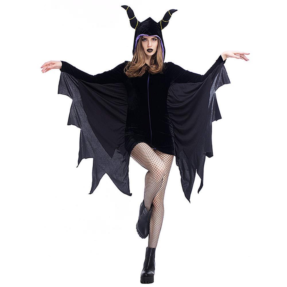 QAR Erwachsener Weiblicher Schwarzer Schläger Wings Horn-Kap-Umhang-Vampirs-Schläger Halloween-Kostüm Damenbekleidung (größe : XL)