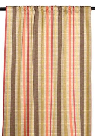 RSH Décor Sunbrella Indoor/Outdoor Curtain Drapery Panel with Rod-Pocket (Sunbrella Solano Fiesta - Tan/Beige, Coral Orange, Olive Green & Brown Stripe, 50'' W x 84'' L) by RSH Décor (Image #6)