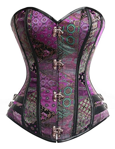 Topmelon Women Vintage Steampunk Sexy Push Up Shapewear Overbust Corset Bustier (L, Purple) Bustier Purple Corset