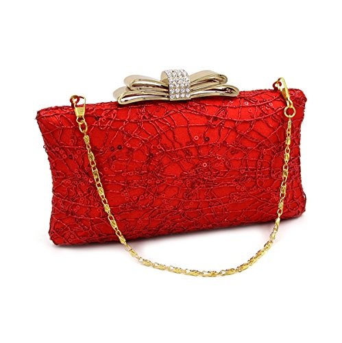 Bag Wedding Women's Bags Satin Crystal Rhinestone Evening Bags Polyester TuTu red RH1Xx