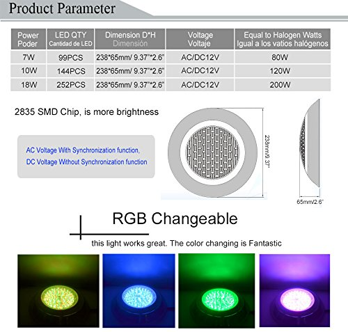 Amazon.com: Cold White no Remote, 18W : HOTOOK Underwater Lights RGB Surface Mounted LED Swimming Pool Light IP68 12V 18W Stainless Steel Lamp for Fountain ...