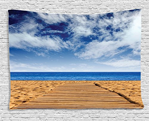 Ambesonne Seaside Decor Collection, Sunset Sea Oats On The Atlantic Coast Myrtle Beach State Park Myrtle Beach, South Carolina, Bedroom Living Room Dorm Wall Hanging Tapestry, 60W X 40L Inch