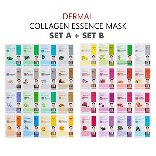 DERMAL 32 Combo A+B Set Pack Collagen Essence Full Face Facial Mask Sheet - The Ultimate Supreme Collection for Every Skin Condition Day to Day Skin Concerns