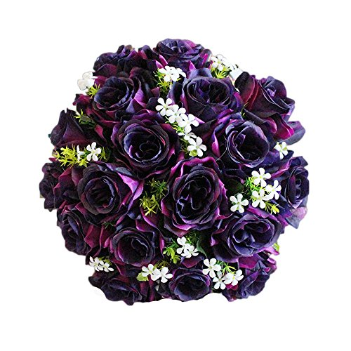 Mikilon Artificial Flowers 18 Heads Real Looking Fake Roses for Wedding Bouquets Centerpieces Arrangements Party Home Decorations (Purple)