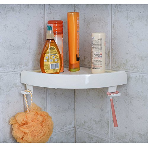 Bath and Shower Corner Press SnapUp Shelf Caddy Storage Organizer,White (1)
