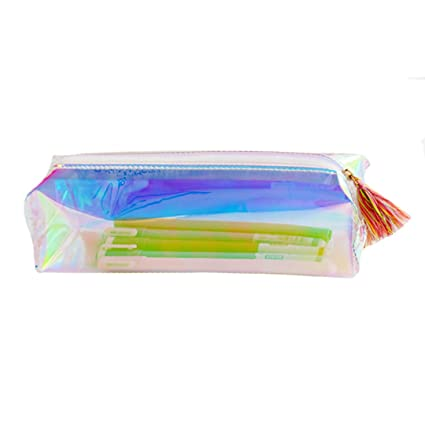 Orfila Holographic Transparent Plastic Pencil Case Zipper Stationery Pouch Tassel Design Makeup Pouch, Silver