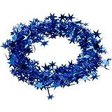 23 Feet Star Tinsel Garland Christmas Decoration (Royal Blue)