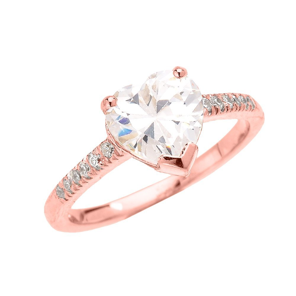 14k Rose Gold 3 Carat CZ Heart Solitaire Proposal Engagement Ring(Size 5.5)