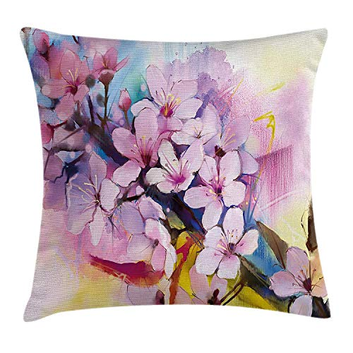 Watercolor Flower Home Decor Throw Pillow Cushion Cover by, Eastern Spiritual Sakura Petals Motif Oriental Floral Paint, Decorative Square Accent Pillow Case, 18 X 18 Inches, Lilac Pink