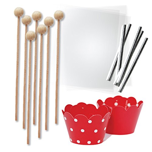 Cake Pop and Candy Packaging for Christmas Treats, Wooden Lollipop Sticks, Clear Bags, Red Wrappers, Silver Twist Ties, 96 Pieces (Mini Treat Bags Twist Ties compare prices)